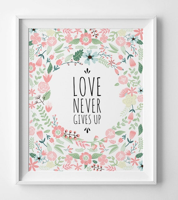 Valentines Day Gift Scripture Art Love Never By