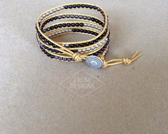 Mustard and Black Leather Wrap Bracelet