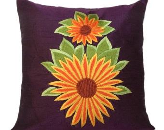 Sunflower Décor, Purple Decorative pillow cover, Sunflower Pillow, Purple Accent Pillow Size 14x14, 16x16, 18x18, 20x20, 22x22