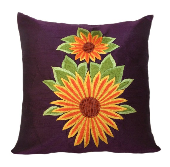 Decorative Pillows With Sunflowers : Sunflower Decor Purple Decorative pillow cover Sunflower