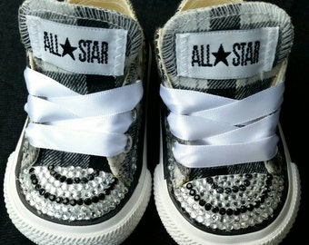 Limited Edition: Kids Bling & Plaid converse Sneakers
