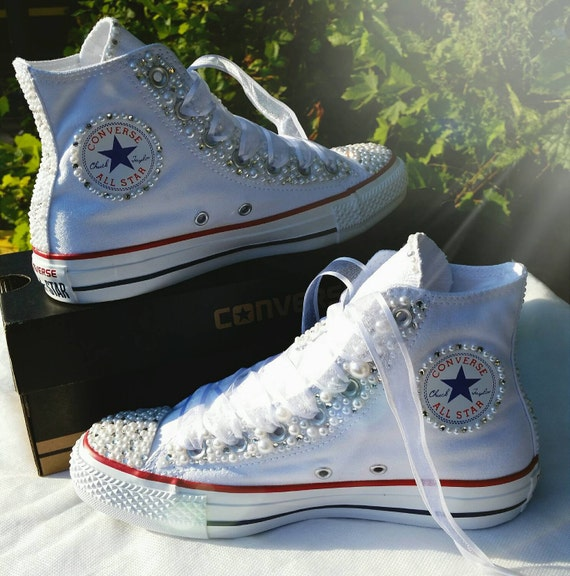 Wedding Converse: Bridal Converse Wedding Converse Bling & Pearls By