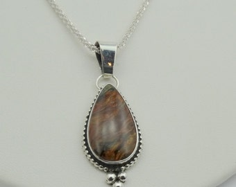 """Vintage Rare Pietersite Cabochon in a Sterling Silver Pendant.  16"""" Chain Included! #PETERS-SPC1"""