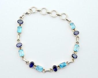 Lovely Vintage Amethyst and Blue Topaz Link Sterling Silver Bracelet TPZAM-LB1