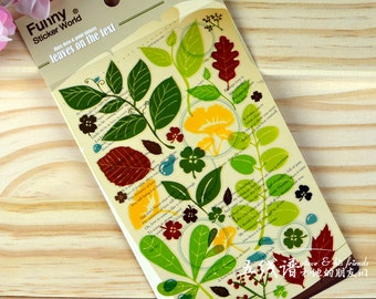 Green Leaves Red Leaf sticker nature stickers scrapbook scrapbooking diary T67