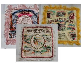 Genuine Vintage 1940s - '50s Niagara Falls Souvenir Pillow Covers -- Free Shipping