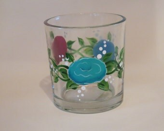 Painted Glass Votive Cup, Flowered Candle Holder