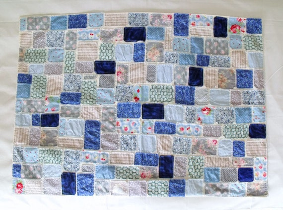"blue throw, scrap fabric lap blanket, patchwork throw, ticker tape throw, raw edged wheelchair cover all, 27"" x 37.5"""