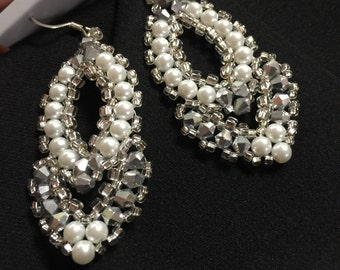 HOLLYWOOD- white hand beaded earrings