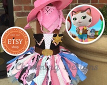 Ready- 5 piece set-Sheriff Callie TuTu Dress - COMPLETE Outfit - LINED TOP - Sheriff Callie costume  - CowGirl TuTu - 1yr - 9yr by Charming