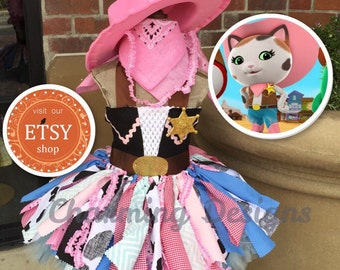 READY - 5 piece set-Sheriff Callie TuTu Dress - COMPLETE Outfit - LINED Top - Sheriff Callie costume  - CowGirl TuTu - 1-8yrs by Charming