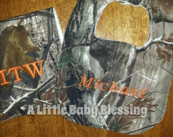 Camouflage bib and burp cloth set with personalization