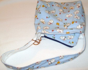 Lined Blue Bunny Tote Bag With Detachable Coin Purse