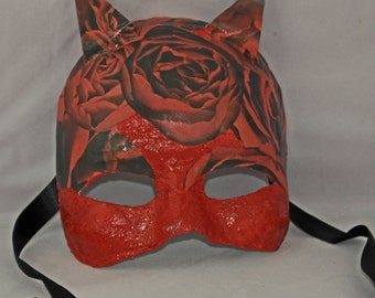 Cat Mask with Roses