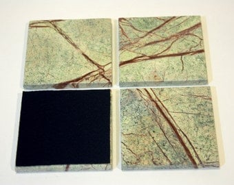 4 inch Rain Forest Onyx Marble Drink Coasters,1 set of four