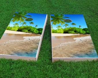 Palm Trees Theme 2x4 Cornhole Board Set with bags | Custom Corn Hole | Bag Toss | Corn Toss | Bean Bag Toss