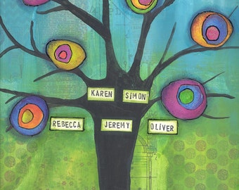 Family tree mixed media painting