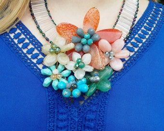 Floral Style Statement Necklace  uk seller