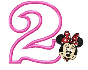 Number 2 Applique with Minnie Face Embroidery Design in 2 Sizes - Instant Download