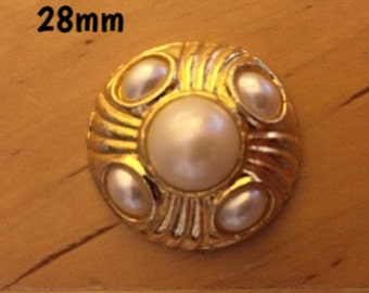 28mm golden and faux pearl plug for stretched ears *vintage*