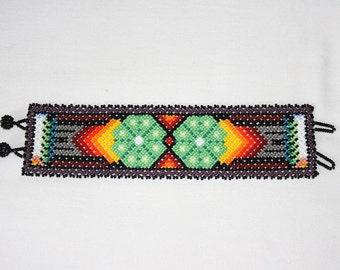 Native American Cuff Bracelet, Huichol Peyote Bracelet, Huichol Bracelet, Freehand Bracelet, Path of Life, Mexican Jewelry, Tribal Bracelet