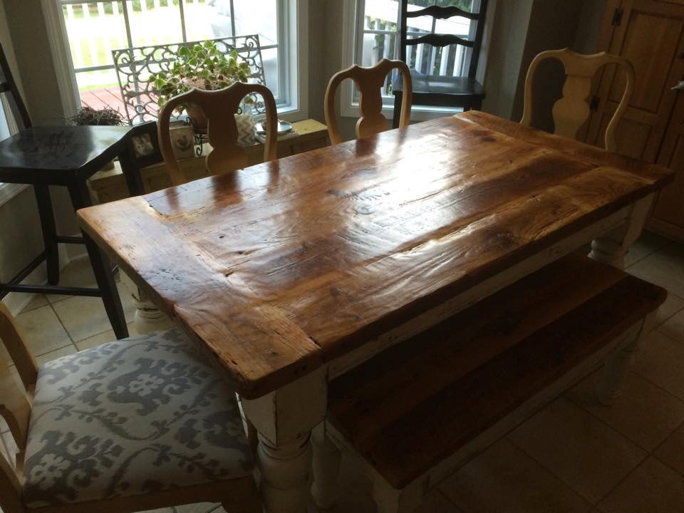 6 Foot Antique Heart Pine Farmhouse Table With One Bench
