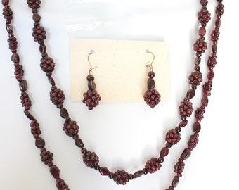 Vintage Natural Dark Red Pyrope Garnet Cluster Hand Beaded 2 Necklaces & Earrings Set c1950s