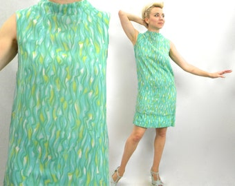 60s Turquoise Sleeveless Dress | Op-Art Sleeveless Shift |  Medium