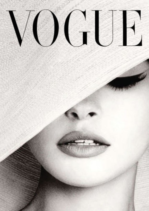 Vogue Cover White Hat Photography Poster Print Canvas
