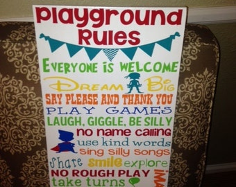 """Personalized Wooden Kids Playroom Playground Decor 12x20"""""""