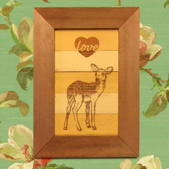 Rustic Wall Decor For Nursery : Fawn rustic wall decor art nursery nature home