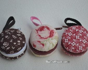 macaron mini purse,cotton,4 x 2.5 cm.3 pieces