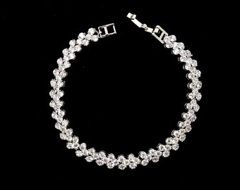 Heart Design AAA Cubic Zirconia Wedding  Bracelet, CZ Bracelet,Bridal Accessory, Wedding Accessory