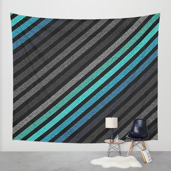 items similar to wall tapestry teal blue gray black stripes wall hanging striped wall. Black Bedroom Furniture Sets. Home Design Ideas