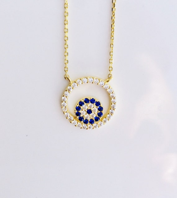 evil eye necklace gold filled zirconia, Real Gold plated Sterling Silver and Cubic Zirconia, Safe to get wet, SALE