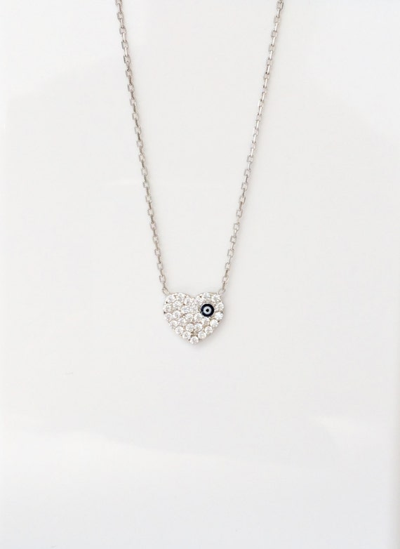 Heart Necklace in .925 Sterling Silver and Zirconia • Waterproof • The Perfect Love Gift to Her From Her Valentine