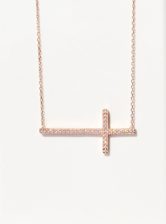 Cross necklace for women in sweet rose gold over sterling silver, It is a large beautiful necklace that grab everyone's attentions