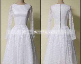 Charming Sheath Short Lace Wedding Dress By Magicbridaldresses