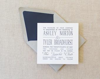 Letterpress Ashley Wedding Invitation Suite, Square