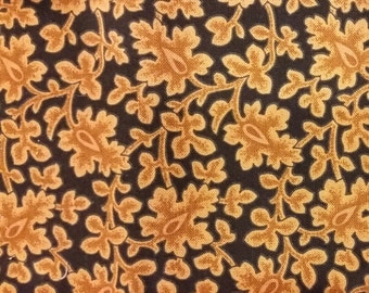 David Textiles Tan Leaf on Dark Blue Reproduction Print Fabric Fat Quarters