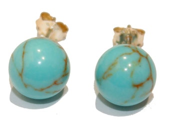 Turquoise Round Ball 9mm .925 Sterling Silver Stud Earrings