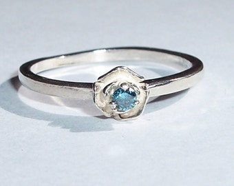 Tiny 2.25mm REAL Ocean Blue DIAMOND USA Made Sterling Rose Ring sz 6.75