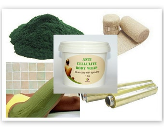 Anti Cellulite Spirulina Wrap Kit Treatment ''BLUE CLAY + SPIRULINA'' , 1 kg.
