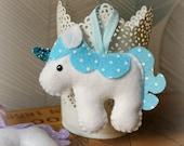 Felt unicorn hanging decoration. Felt decoration. Fairytale Decor.