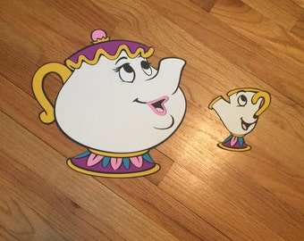 1 ft Tall Mrs Pots and Chip Beauty and the Beast Party Props, Disney Party Props, Disney Party