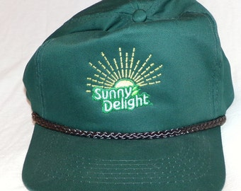 Sunny Delight Hat looks like what a Driver would wear RARE Vintage Embroidered Hat