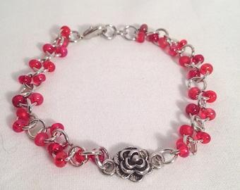 Red bead bracelet, red chain bracelet, red flower bracelet, red bracelet, bracelet red