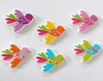 6 Colorful Bird Buttons # SB- 00168