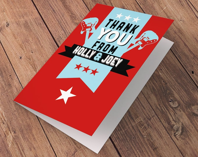 Thank You Card - Greeting Card - All occasion card - rockstar thank you card - baby shower Thank you - Birthday Party Thank You Card