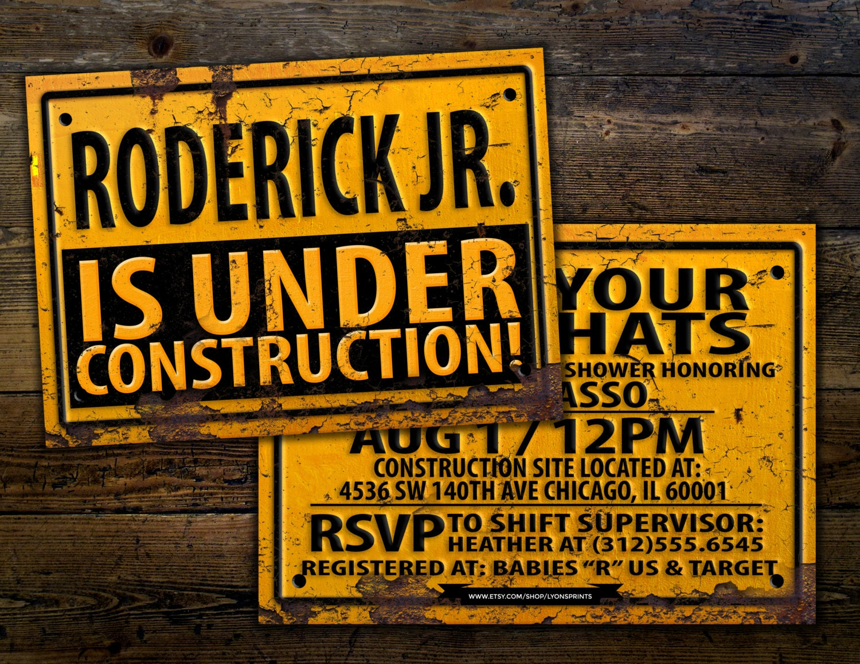 under construction baby shower invitation, construction invitation, Baby shower